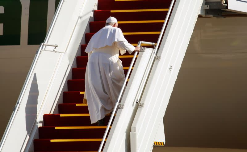 Pope Francis bids farewell before departing for Rome