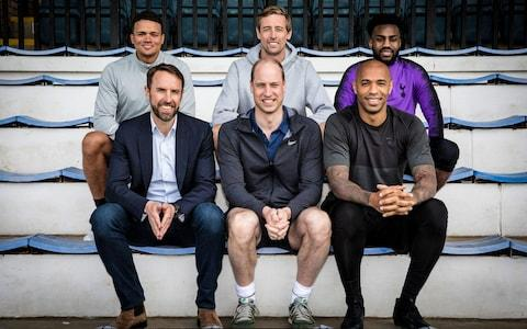 The Duke of Cambridge (centre) with; (left to right) Jermaine Jenas, Gareth Southgate, Peter Crouch, Thierry Henry and Darren Bent, taken for the BBC One documentary a A Royal Team Talk - Credit: BBC