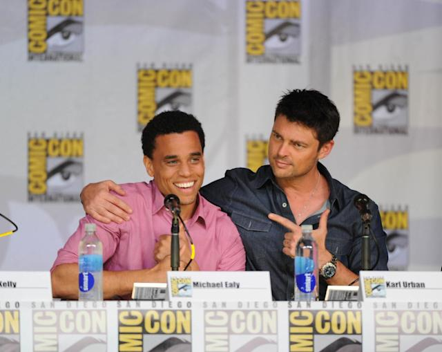"Michael Ealy and Karl Urban talk to fans during the ""Almost Human"" panel on Friday, July 19 during Fox Fanfare at San Diego Comic-Con 2013."