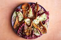 """What's a honeynut squash, you ask? It looks like a miniature butternut squash and has sweet, firm flesh that stands up to any cooking method. <a href=""""https://www.epicurious.com/recipes/food/views/honeynut-squash-with-radicchio-and-miso?mbid=synd_yahoo_rss"""" rel=""""nofollow noopener"""" target=""""_blank"""" data-ylk=""""slk:See recipe."""" class=""""link rapid-noclick-resp"""">See recipe.</a>"""