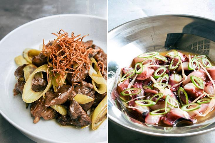 Wagyu beef stir fry with lacto leeks and ginger (left). Steamed octopus with 'shio koji', pickled ginger and spring onions.