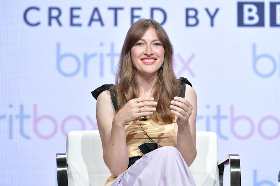 BEVERLY HILLS, CALIFORNIA - JULY 25: Kelly Macdonald of The Victim speaks during the BritBox segment of the Summer 2019 Television Critics Association Press Tour 2019 at The Beverly Hilton Hotel on July 25, 2019 in Beverly Hills, California. (Photo by Amy Sussman/Getty Images)