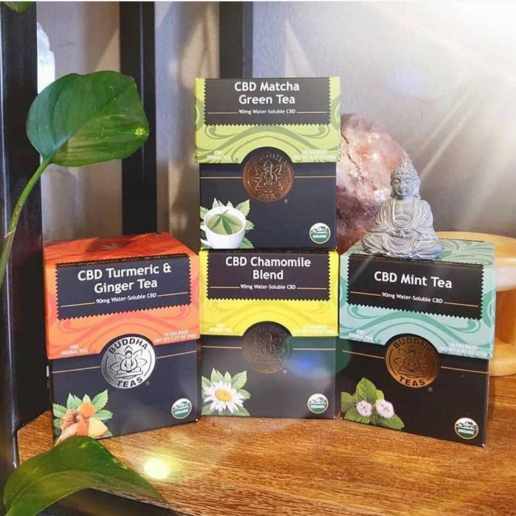 <p>Buddha Teas' CBD teas boast bioavailability of relaxing, pain-relieving, non-psychoactive cannabidiol, as it's water-soluble. You can get a bundle of all four flavors: matcha green tea, turmeric and ginger, chamomile, and mint for $69.99 on CBD.BuddhaTeas.com.</p>