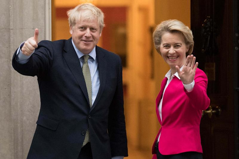 Boris Johnson with European Commission president Ursula von der Leyen (PA)