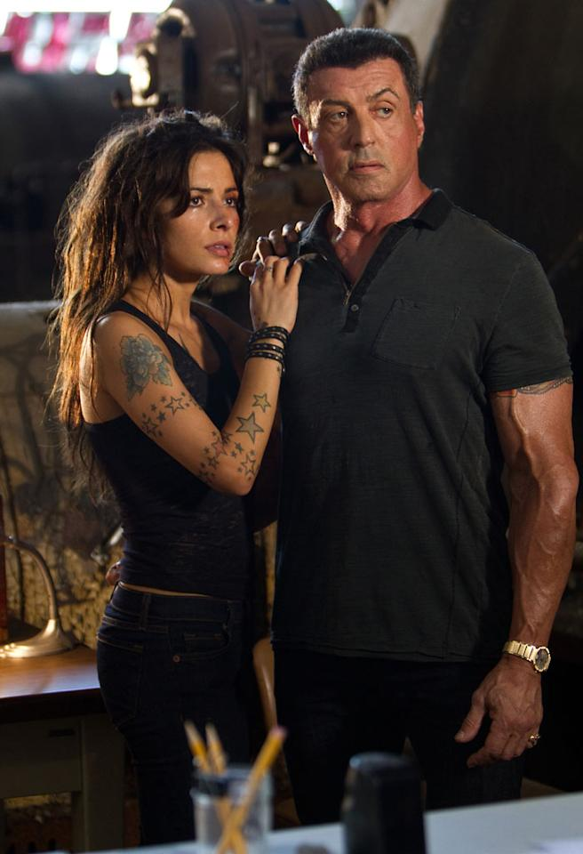 "Sarah Shahi and Sylvester Stallone in Warner Bros. Pictures' ""Bullet to the Head"" - 2013"