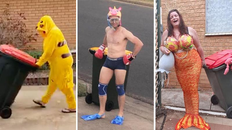 A person dressed as Pikachu, a scuba diver and a mermaid taking out their rubbish bins