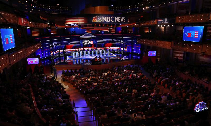 Democratic presidential candidates on stage during a Democratic primary debate hosted by NBC News at the Adrienne Arsht Center for the Performing Arts, Thursday, June 27, 2019, in Miami. | Wilfredo Lee—AP