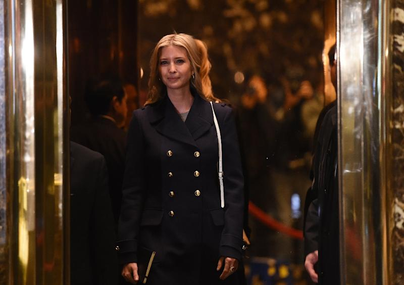 Ivanka Trump, daughter and part of the executive committee of US President-elect Donald Trump's transition team arrives at Trump Tower on another day of meetings on November 21, 2016 in New York