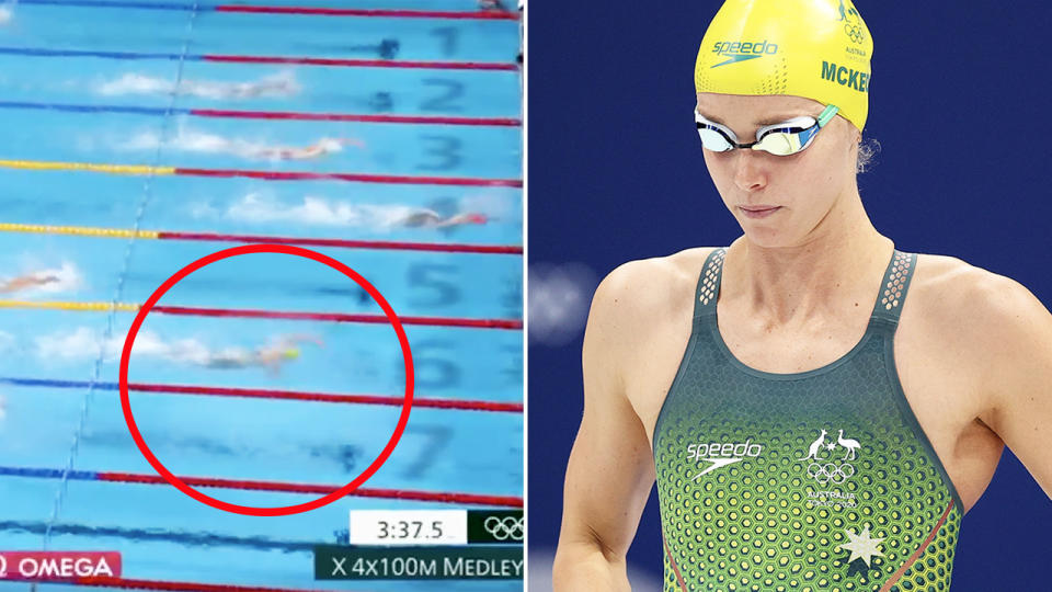 Emma McKeon, pictured here winning her ninth Olympic medal with bronze in the 4x100m mixed medley relay.