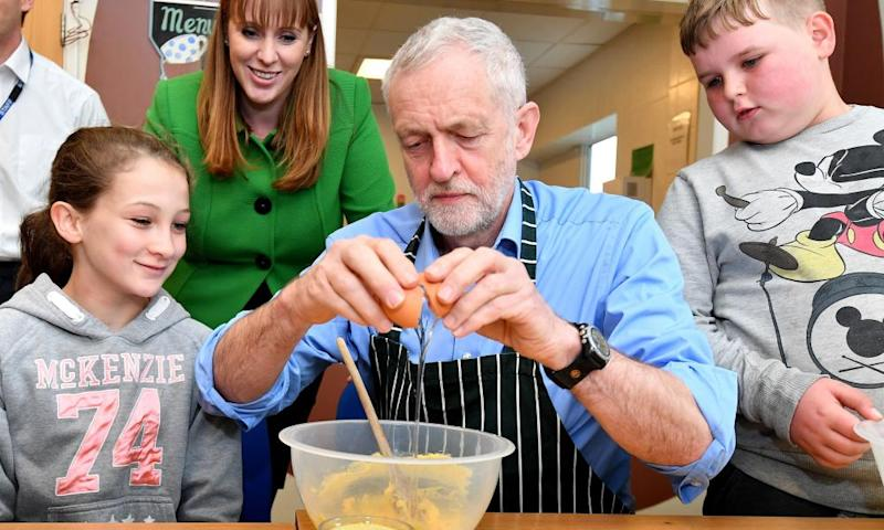 Jeremy Corbyn makes fairy cakes with in Leyland, Lancashire.