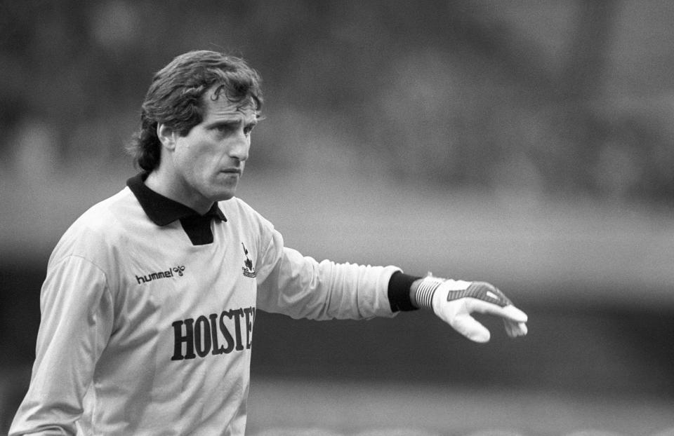 FILE - This is a Nov. 28, 1985 file photo of Tottenham Hotsputs's goalkeeper Ray Clemence. Ray Clemence, the former Liverpool, Tottenham and England goalkeeper, has died. He was 72. The Football Association confirmed the news Sunday, Nov. 15, 2020 without giving a cause of death. (PA via AP, File)