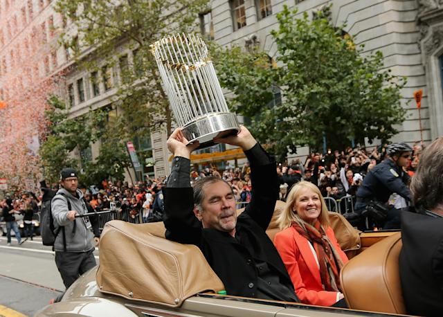 SAN FRANCISCO, CA - OCTOBER 31: Manager Bruce Bochy holds up the World Series trophy during the San Francisco Giants World Series victory parade on October 31, 2012 in San Francisco, California. The San Francisco Giants beat the Detroit Tigers to win the 2012 World Series. (Photo by Ezra Shaw/Getty Images)