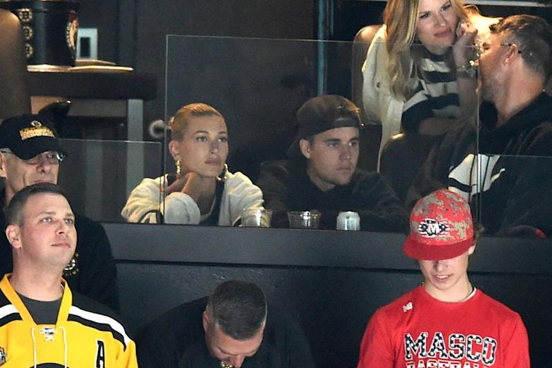 Hailey Baldwin and Justin Bieber | Steve Babineau/NHLI via Getty Images