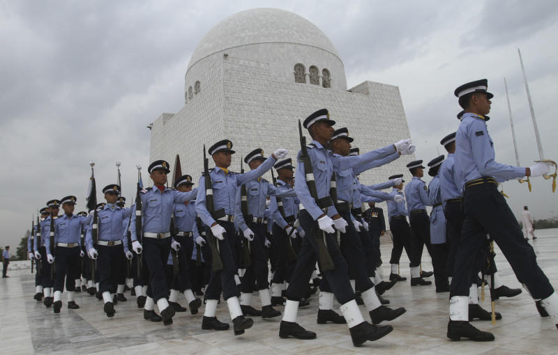 Pakistani Air Force personnel march at the Mausoleum of Mohammad Ali Jinnah, founder of Pakistan on the occasion of  Defence Day on Tuesday, Sept 6, 2011 in Karachi, Pakistan. (AP Photo/Fareed Khan)