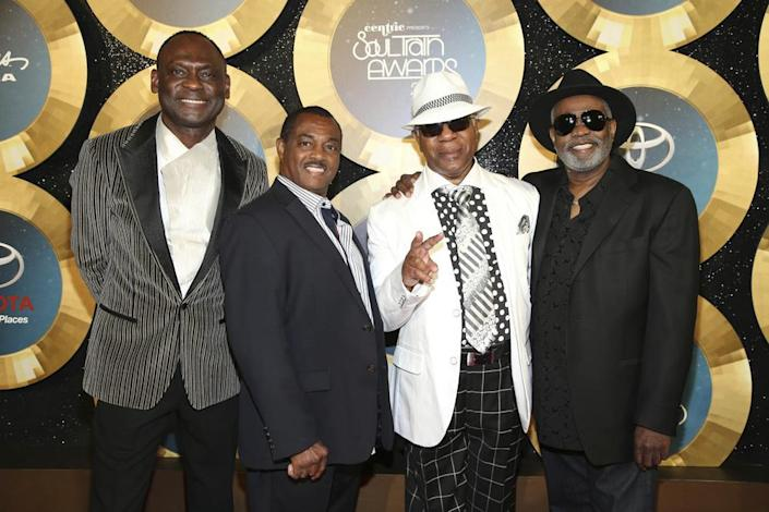 In this Nov. 7, 2014 file photo, George Brown, Ronald Bell, Dennis Thomas and Robert 'Kool' Bell of Kool & the Gang arrive during the 2014 Soul Train Awards at the Orleans Arena at The Orleans Hotel & Casino in Las Vegas, Nev. (Photo by Omar Vega/Invision/AP, File)