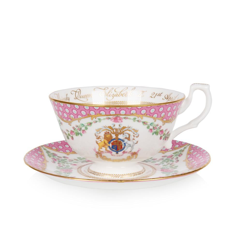 EMBARGOED TO 0001 SATURDAY MARCH 27 For single use only, not to be archived, sold on or used out of context. Undated handout photo issued by the Royal Collection Trust showing a tea cup and saucer from the official range of china to celebrate the 95th birthday of The Queen. The range of china drew inspiration from the QueenÕs roses at Windsor Castle and items in the Royal Collection and is available to buy from Saturday, ahead of the Queen's 95th birthday on April 21. Issue date: Saturday March 27, 2021.