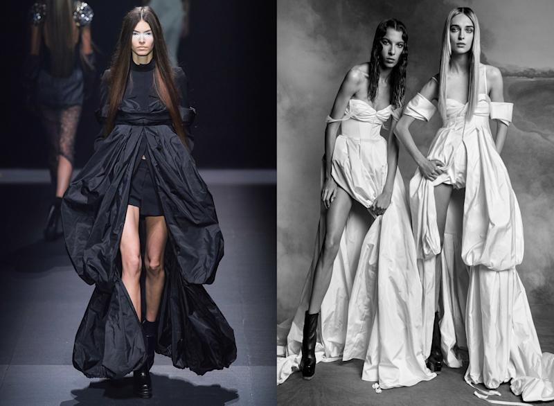Vera Wang's Fall 2020 bridal collection was designed in a similar spirit as her Spring 2020 ready-to-wear, with billowing coat-dresses and satin bra tops a bride could re-wear after the wedding.