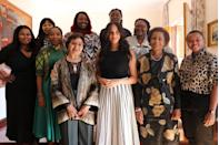 <p>Meghan attended a breakfast with advocates and leaders while in Cape Town during the royal tour. The Duchess wore a skirt by J.Crew and a black top by her close friend Misha Nonoo for the engagement. </p>