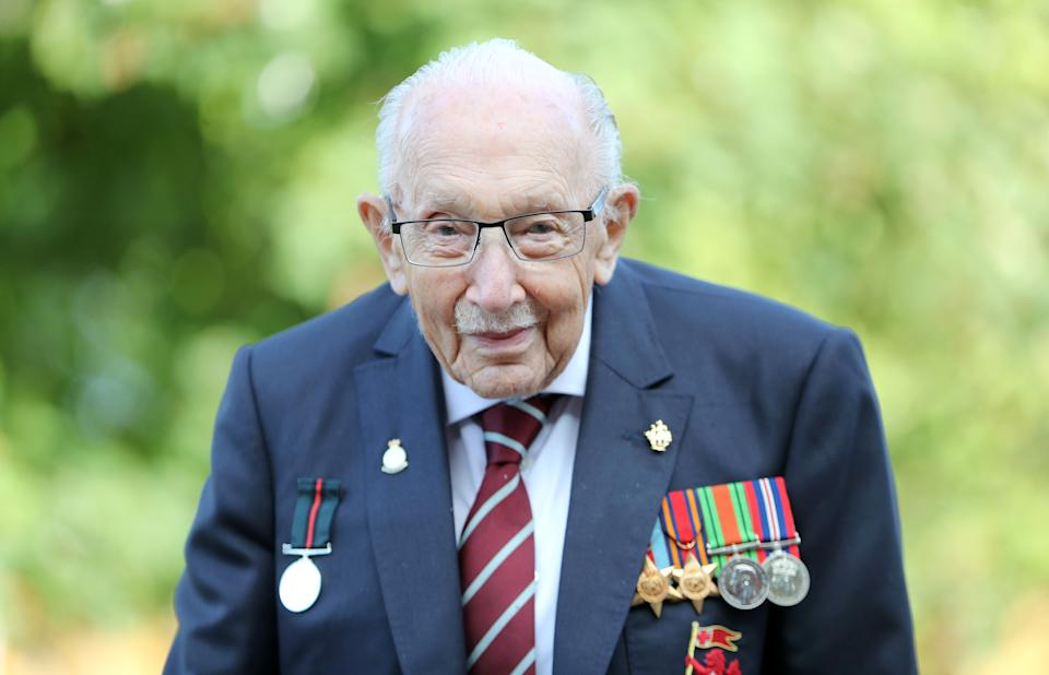 MILTON KEYNES, ENGLAND - SEPTEMBER 17: Captain Sir Tom Moore poses during a photocall to mark the launch of his memoir