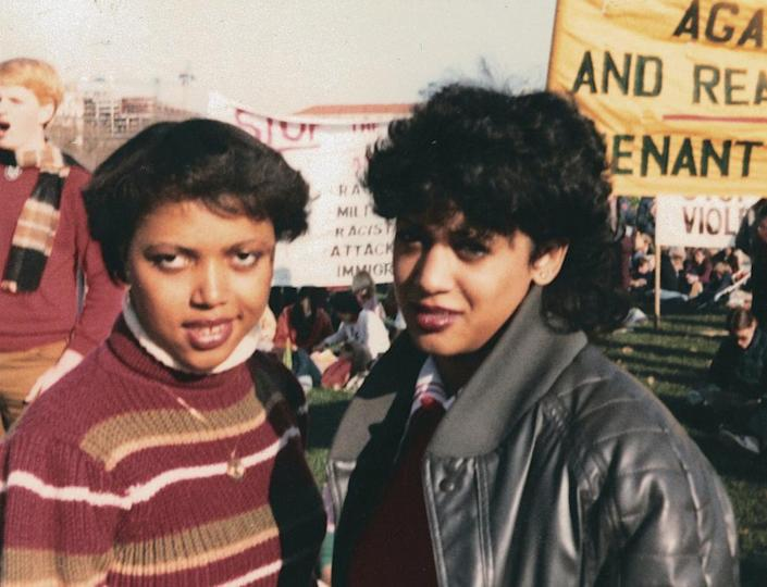 """<span class=""""element-image__caption"""">This November 1982 photo provided by the Kamala Harris campaign shows her, right, with Gwen Whitfield at an anti-apartheid protest during her freshman year at Howard University in Washington.</span> <span class=""""element-image__credit"""">Photograph: Courtesy Kamala Harris Campaign/AP</span>"""