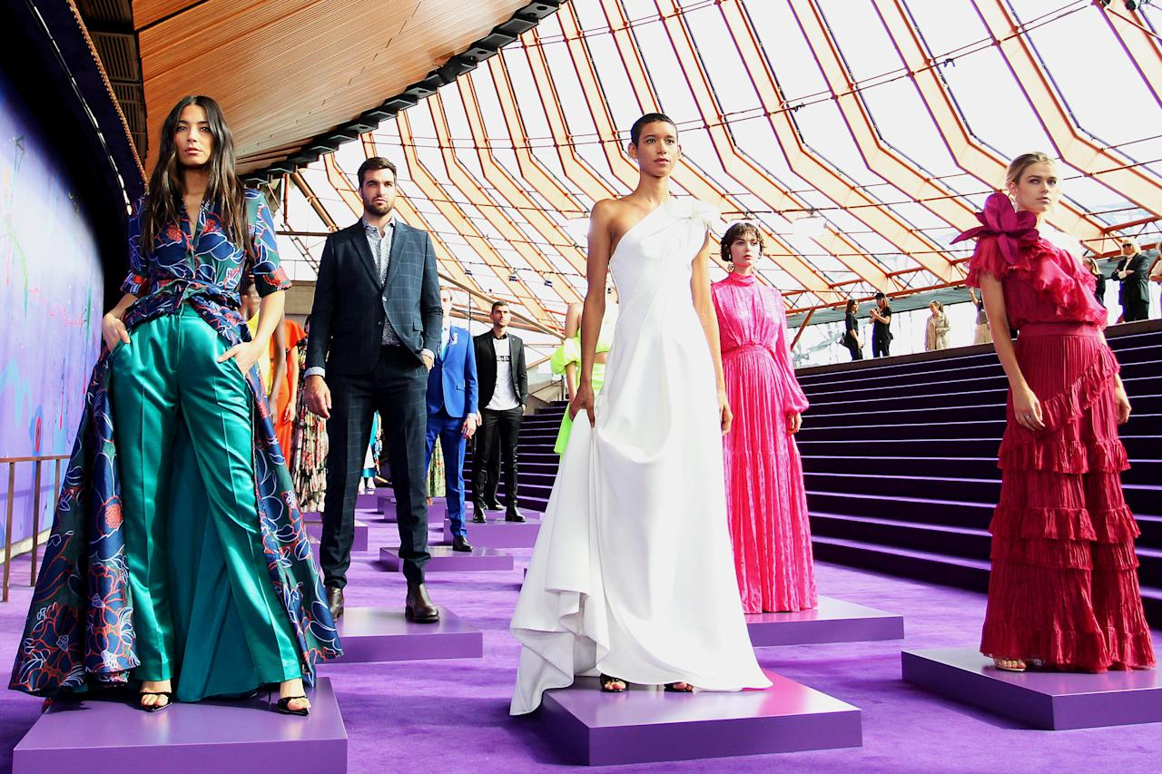 Jessica Gomes, Dilone and Victoria Lee showcase designs during the David Jones SS19 Season Preview at the Sydney Opera House. Photo: Getty