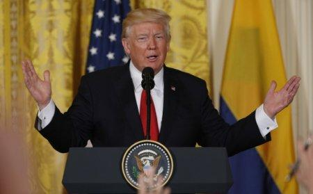 U.S. President Donald Trump speaks during a joint news conference with Colombia's President Juan Manuel Santos (not pictured) at the White House in Washington, U.S. May 18, 2017. REUTERS/Kevin Lamarque