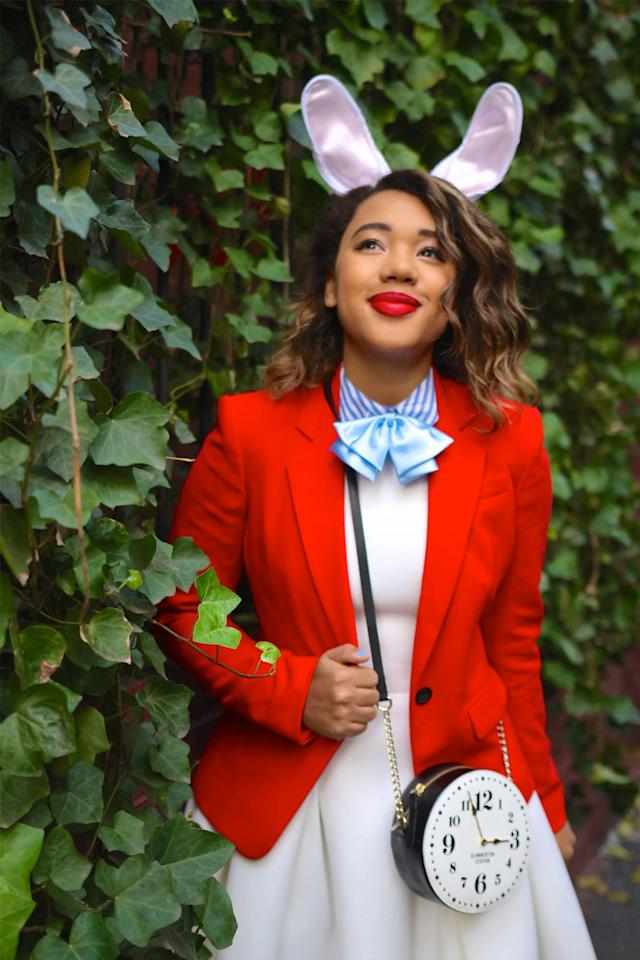 """<p><span>You better not be late to your Halloween party while wearing this cute costume.</span><br></p><p><strong>Get the tutorial at <a rel=""""nofollow"""" href=""""http://www.colormecourtney.com/disney-diy-2-easy-halloween-costumes/"""">Color Me Courtney</a>. </strong></p>"""