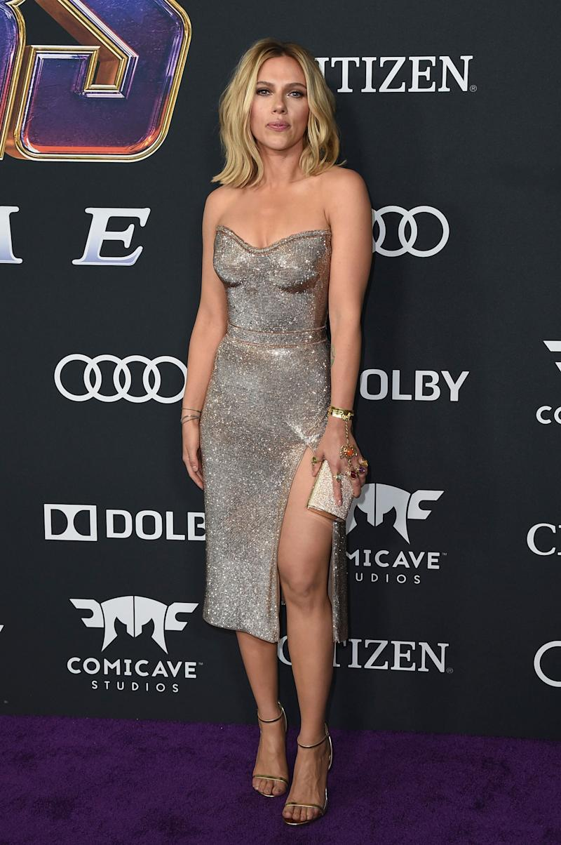 "Scarlett Johansson arrives in sparkles at the premiere of ""Avengers: Endgame."" (Photo: Jordan Strauss/Invision/AP)"