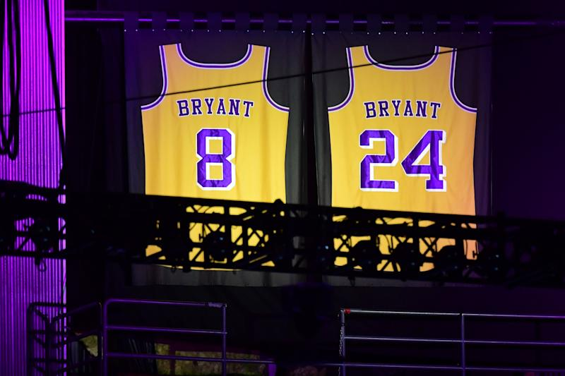"Kobe Bryant's Lakers jerseys are displayed during the ""Celebration of Life for Kobe and Gianna Bryant"" service at Staples Center in downtown Los Angeles on February 24, 2020."