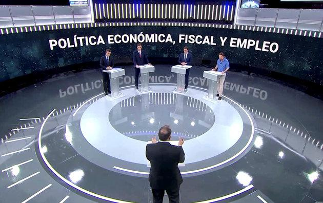 Candidates for Spanish general elections People's Party (PP) Pablo Casado, Spanish Prime Minister and Socialist Workers' Party (PSOE) Pedro Sanchez, Ciudadanos' Albert Rivera and Unidas Podemos' Pablo Iglesias attend a televised debate ahead of general elections.