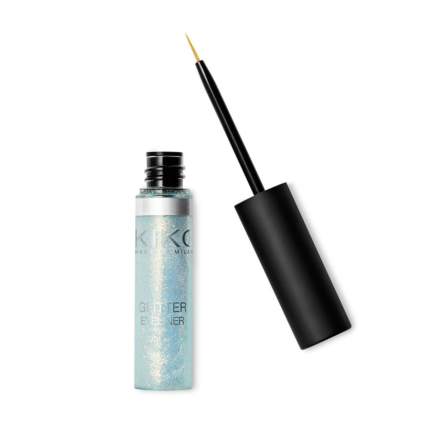 """<p>If you'd like a hint of glitter without feeling OTT, try adding glitter to your liquid eyeliner. This<a rel=""""nofollow"""" href=""""https://www.kikocosmetics.com/en-gb/product/Glitter-Eyeliner-01/p-KM0030201500144?gclid=EAIaIQobChMI88LO6pix1wIVjiQrCh1BBg-kEAQYCCABEgLWt_D_BwE&gclsrc=aw.ds""""> KIKO Glitter Eyeliner, </a>6.90, can be used alone, or as a topcoat over coloured eyeliner. We love using it on the lower lash line with our regular makeup – the light reflection makes your eyes look bigger too. </p>"""