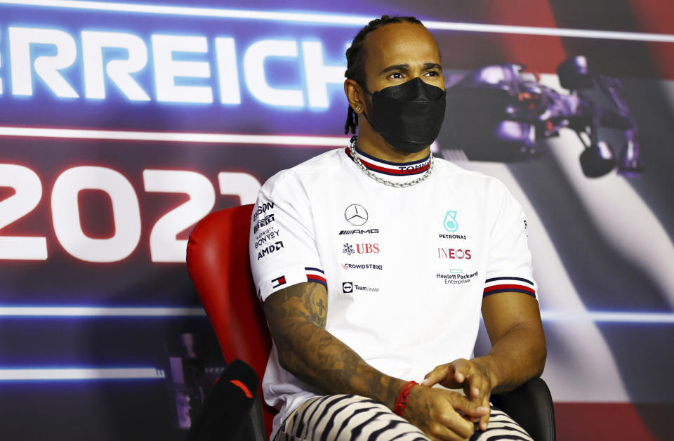 Mercedes driver Lewis Hamilton of Britain attends a media conference ahead of the Austrian Formula One Grand Prix at the Red Bull Ring racetrack in Spielberg, Austria, Thursday, July 1, 2021. (Bryn Lennon/Pool Photo via AP)