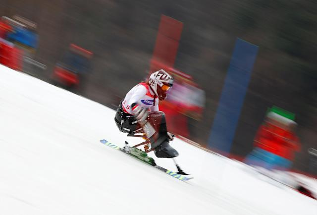 Alpine Skiing - Pyeongchang 2018 Winter Paralympics - Women's Slalom - Sitting - Run 2 - Jeongseon Alpine Centre - Jeongseon, South Korea - March 18, 2018 - Heike Eder of Austria. REUTERS/Paul Hanna