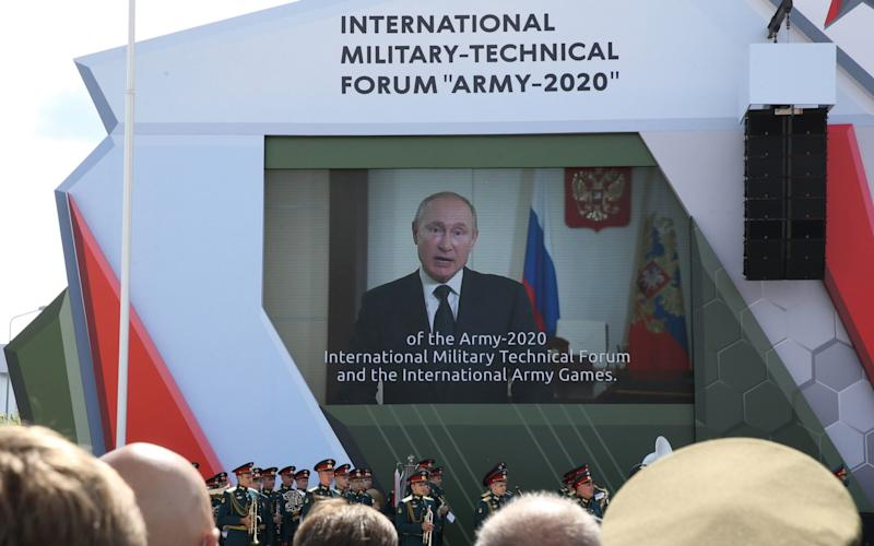 Russian President Vladimir Putin opens the International Military Technical Forum Army-2020, an annual exhibition of military tech, at the Patriot Park in Kubinka, Russia. August 23, 2020. - Mikhail Svetlov/Getty Images Europe