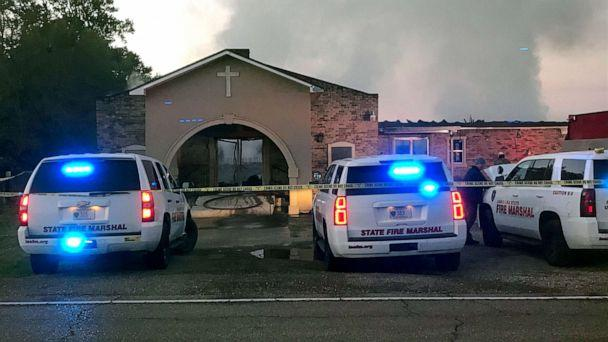 PHOTO: Louisiana State Fire Marshall vehicles are seen outside the Greater Union Baptist Church during a fire, in Opelousas, Louisiana, April 2, 2019, in this picture obtained from social media. (Louisiana Office Of State Fire Marshal/Reuters)