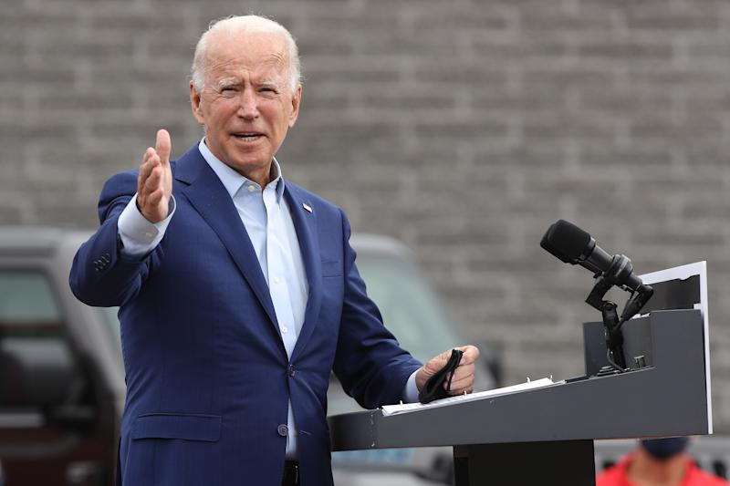 Democratic presidential nominee and former Vice President Joe Biden delivers remarks in the parking lot outside the United Auto Workers Region 1 offices on September 09, 2020 in Warren, Michigan. (Chip Somodevilla/Getty Images)