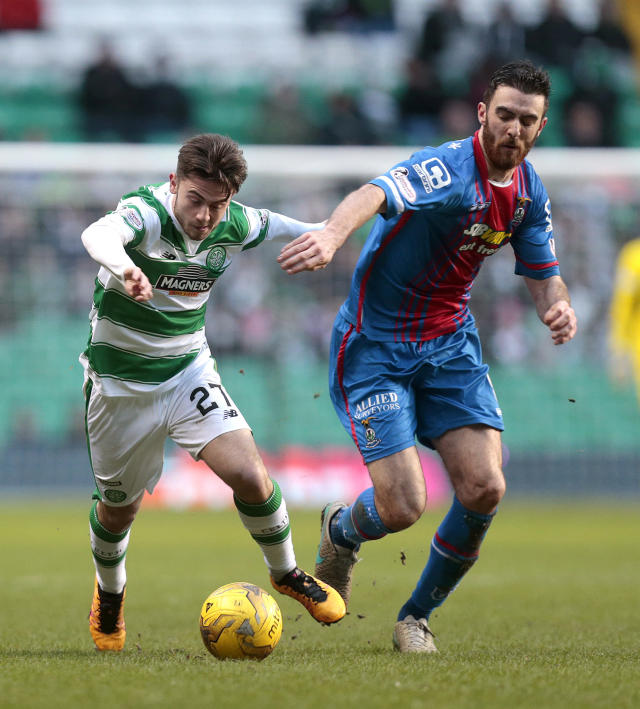 "Football Soccer - Celtic v Inverness Caledonian Thistle - Ladbrokes Scottish Premiership - Celtic Park - 20/2/16 Celtic's Patrick Roberts (L) in action with Inverness Caledonian Thistle's Ross Draper (R) Action Images via Reuters / Graham Stuart Livepic EDITORIAL USE ONLY. No use with unauthorized audio, video, data, fixture lists, club/league logos or ""live"" services. Online in-match use limited to 45 images, no video emulation. No use in betting, games or single club/league/player publications. Please contact your account representative for further details."