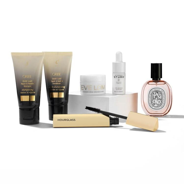 """<p>The only thing better than one luxury brand's gift set? A gift set of best sellers from luxury brand Space NK. For $99, you get $240 worth of makeup, skin care, hair care, and fragrance: Hourglass Caution Extreme Lash Mascara, Oribe Gold Lust Shampoo and Conditioner, Diptyque Tam Dao fragrance, Eve Lom Cleanser with Cloth, and Dr Barbara Sturm Calming Serum.</p> <p><strong>$99</strong> (<a href=""""https://www.spacenk.com/us/en_US/new/skincare/best-of-space-nk-holiday-heroes-set-MUK300055094.html"""" rel=""""nofollow"""">Shop Now</a>)</p>"""