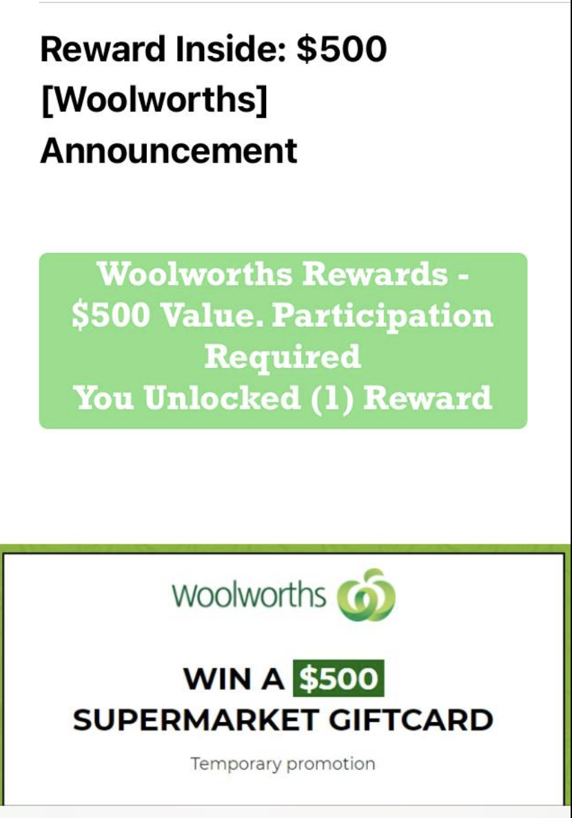 A scam email appearing to be from Woolworths.