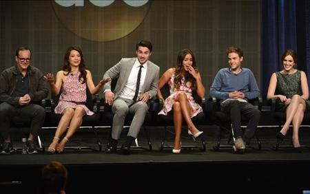 "Cast members participate in panel for ""Marvel's Agents of S.H.I.E.L.D."" during Disney ABC Television Group sessions at Television Critics Association summer press tour in Beverly Hills"
