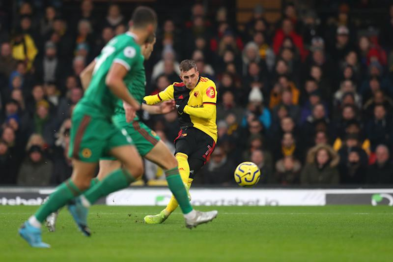 WATFORD, ENGLAND - JANUARY 01: Gerard Deulofeu of Watford scores his sides first goal during the Premier League match between Watford FC and Wolverhampton Wanderers at Vicarage Road on January 01, 2020 in Watford, United Kingdom. (Photo by Catherine Ivill/Getty Images)