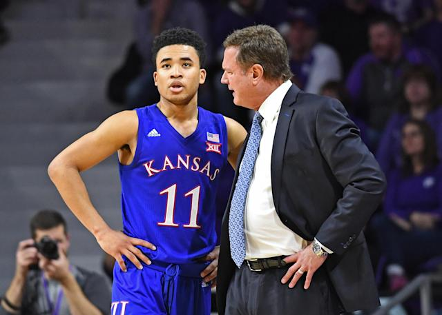 Bill Self of the Kansas Jayhawks instructs Devon Dotson #11 during the first half against the Kansas State Wildcats on February 5, 2019. (Getty)