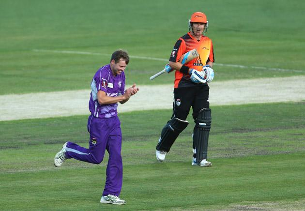 Ben Laughlin of the Hurricanes celebrates the wicket of Marcus North of the Scorchers during the Big Bash League match between the Hobart Hurricanes and the Perth Scorchers at Blundstone Arena on January 1, 2013 in Hobart, Australia.  (Photo by Robert Cianflone/Getty Images)