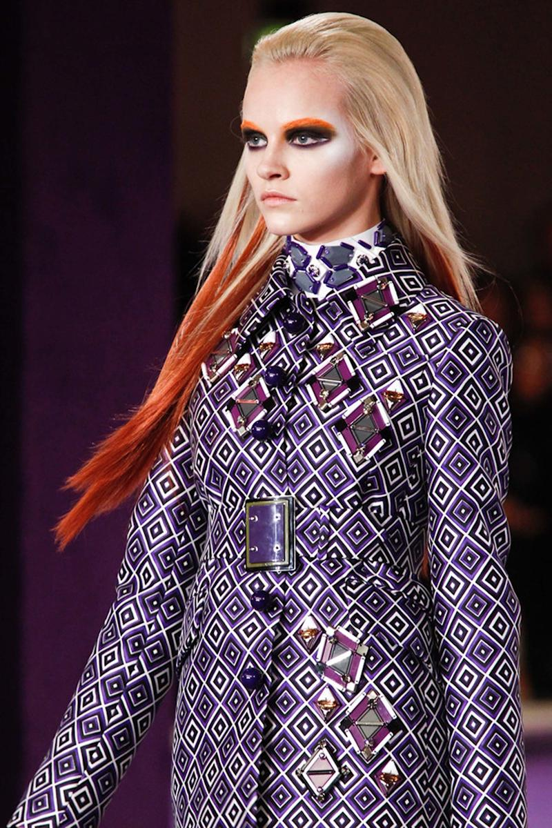During the early days of street style's colorful, pastel highlights, the Fall 2012 Prada runway showcased contrasting, dip-dyed, manga-inspired manes that took conceptual hair color to chic new heights.