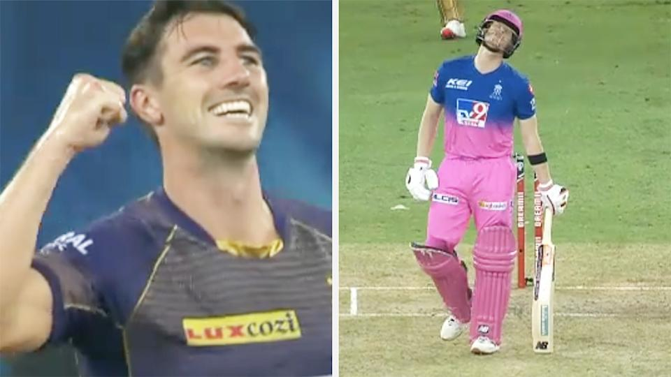 A 50-50 split image shows Pat Cummins celebrating the wicket of Steve Smith on the left, and Smith looking dejected on the right.