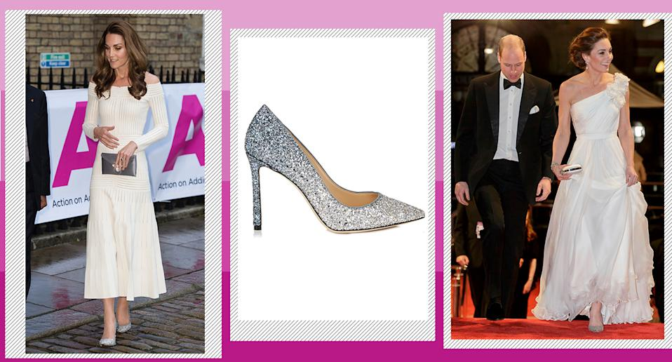 Here's how to get Kate's sparkly shoes for less. [Photos: Getty]
