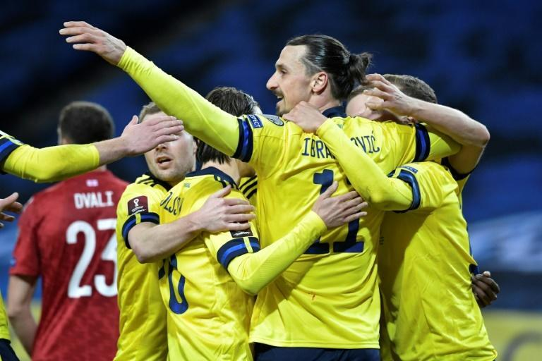 Zlatan Ibrahimovic set up Sweden's winning goal on his return to international football
