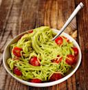 """This pesto uses avocado for its creamy consistency, rather than Parmesan cheese. <a href=""""https://www.epicurious.com/recipes/food/views/creamy-avocado-pesto-395594?mbid=synd_yahoo_rss"""" rel=""""nofollow noopener"""" target=""""_blank"""" data-ylk=""""slk:See recipe."""" class=""""link rapid-noclick-resp"""">See recipe.</a>"""