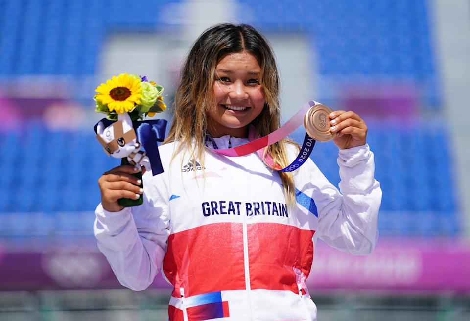 Great Britain's Sky Brown celebrates winning the bronze medal during the Women's Park Final at Ariake Sports Park on the twelfth day of the Tokyo 2020 Olympic Games in Japan. Picture date: Wednesday August 4, 2021. (Photo by Adam Davy/PA Images via Getty Images)