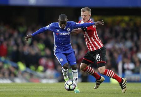 Britain Football Soccer - Chelsea v Southampton - Premier League - Stamford Bridge - 25/4/17 Chelsea's N'Golo Kante in action with Southampton's James Ward-Prowse Action Images via Reuters / John Sibley Livepic